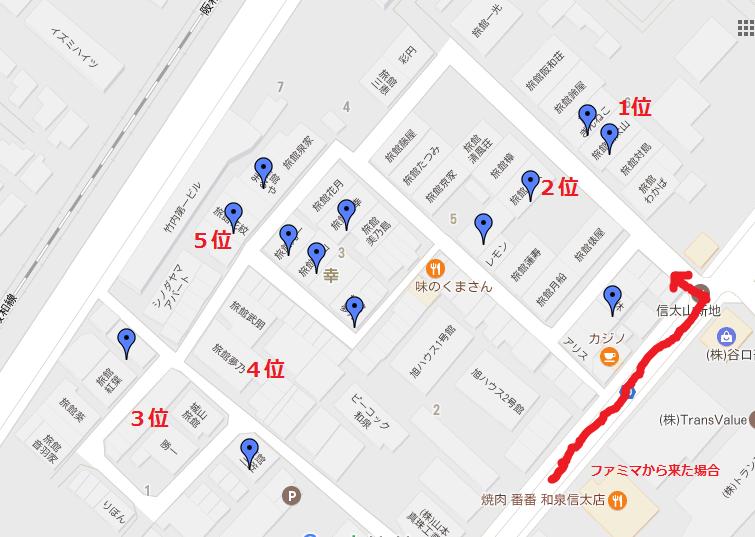 信太山旅館の地図